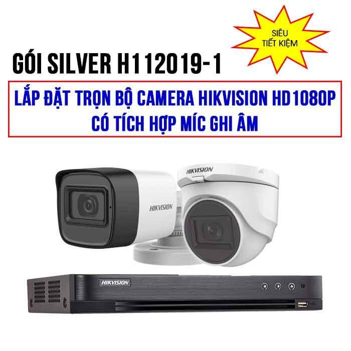 Trọn bộ 2 camera HIKVISION HD1080P có tích hợp Mic (SILVER H112019-1)