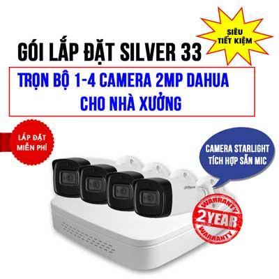 Trọn bộ 1-4 camera 2MP Starlight Dahua cho Nhà xưởng (Gói SILVER 33)